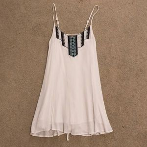 Lulu's White embroidered swing dress- strappy back